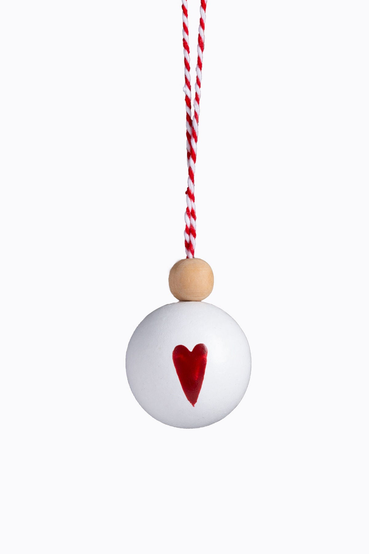 XMAS: Painted Wood Ball Ornament