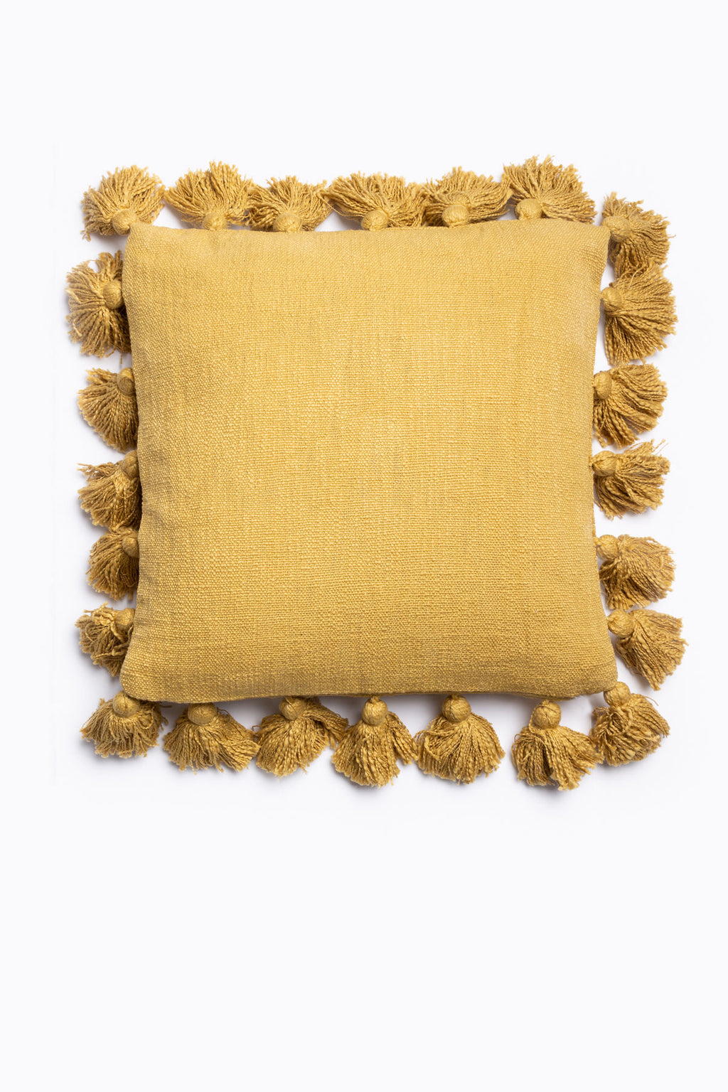HOME: Square Pillow w/ Tassels in Mustard
