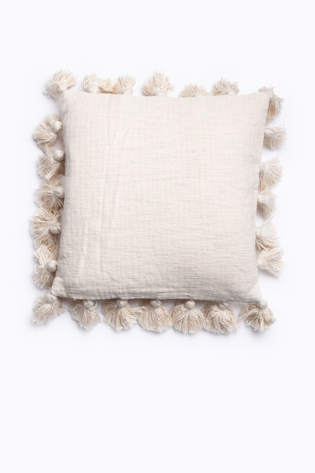HOME: Square Pillow w/ Tassels in Cream