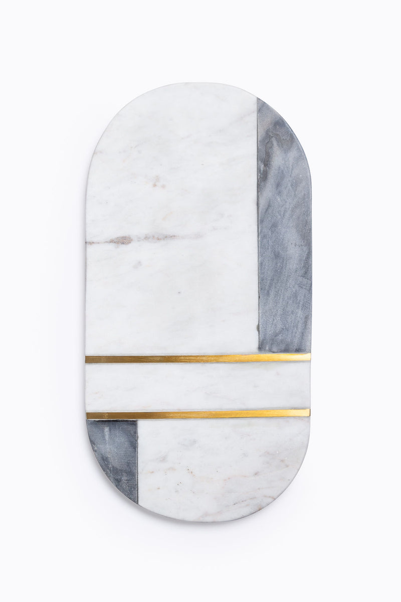 HOME: Oval Rounded Marble and Brass Cutting Board Tray