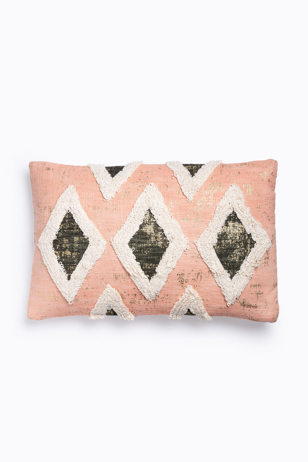 HOME: Diamond Pillow with Embroidery in Blush