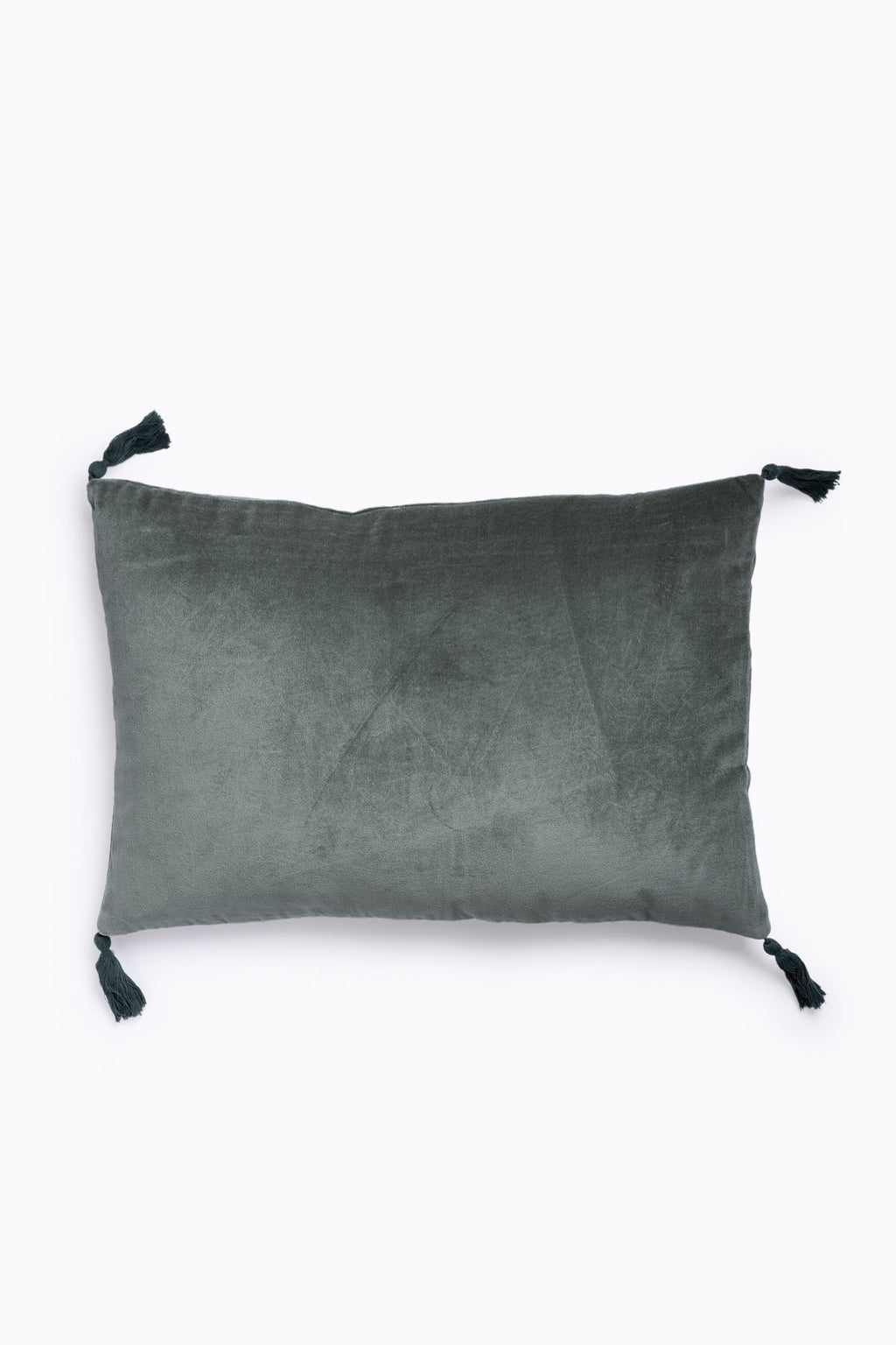 HOME: Velvet Pillow with Tassels in Faded Jade