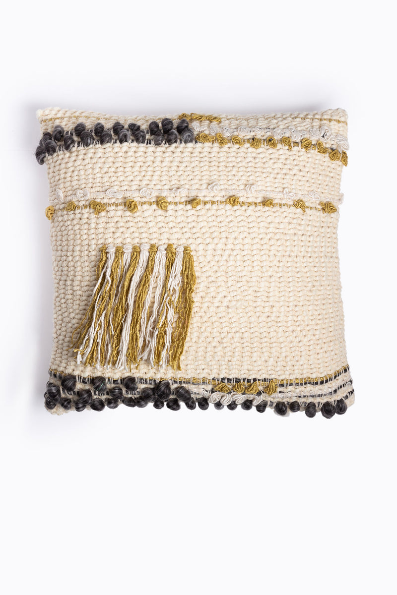HOME: Fringe Wool Pillow in Gold