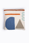 HOME: Square Cotton Velvet Front Pillow in Grey