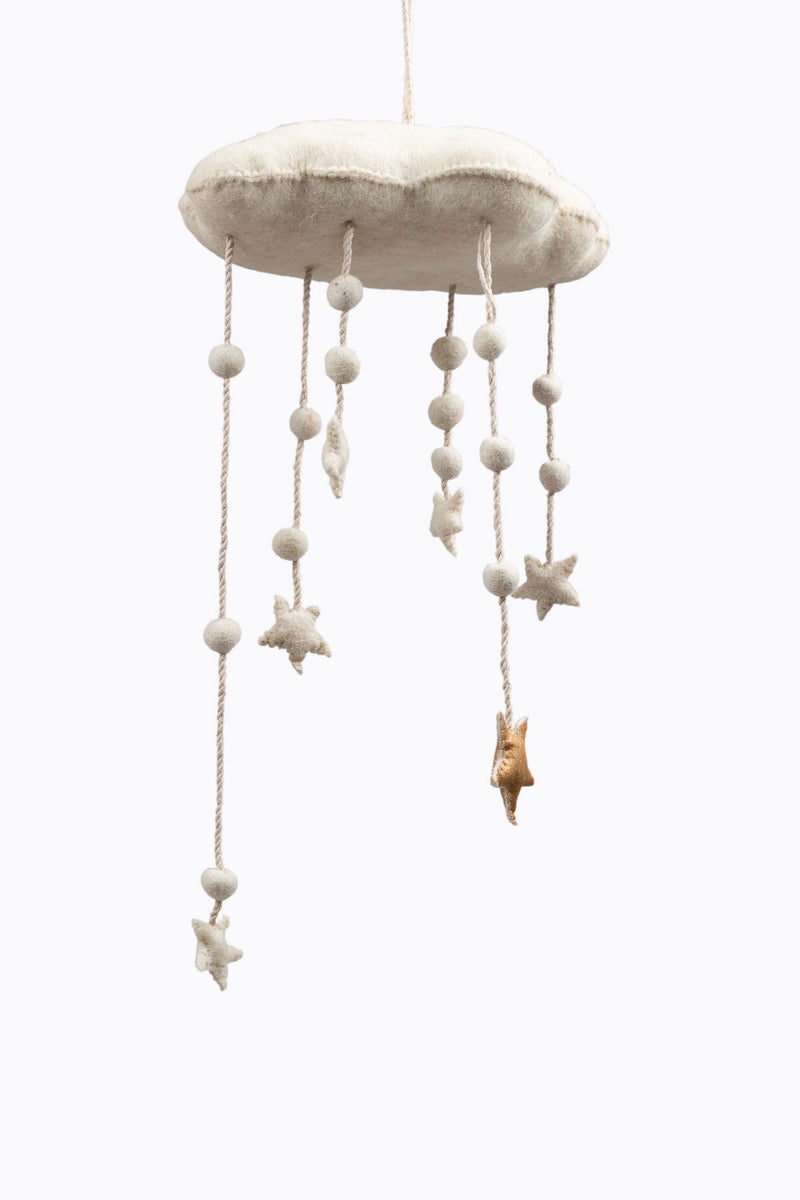 HOME: Wool Felt Cloud and Stars Baby Mobile