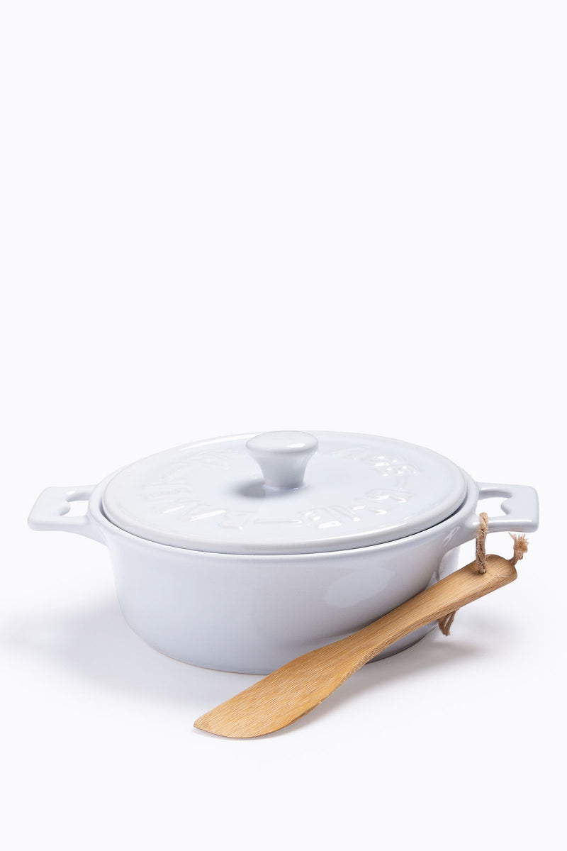 HOME: Stoneware Brie Baker with Wood Spreader, 2 Colors