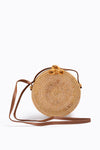 The Barcelona Woven Round Basket Bag in Natural