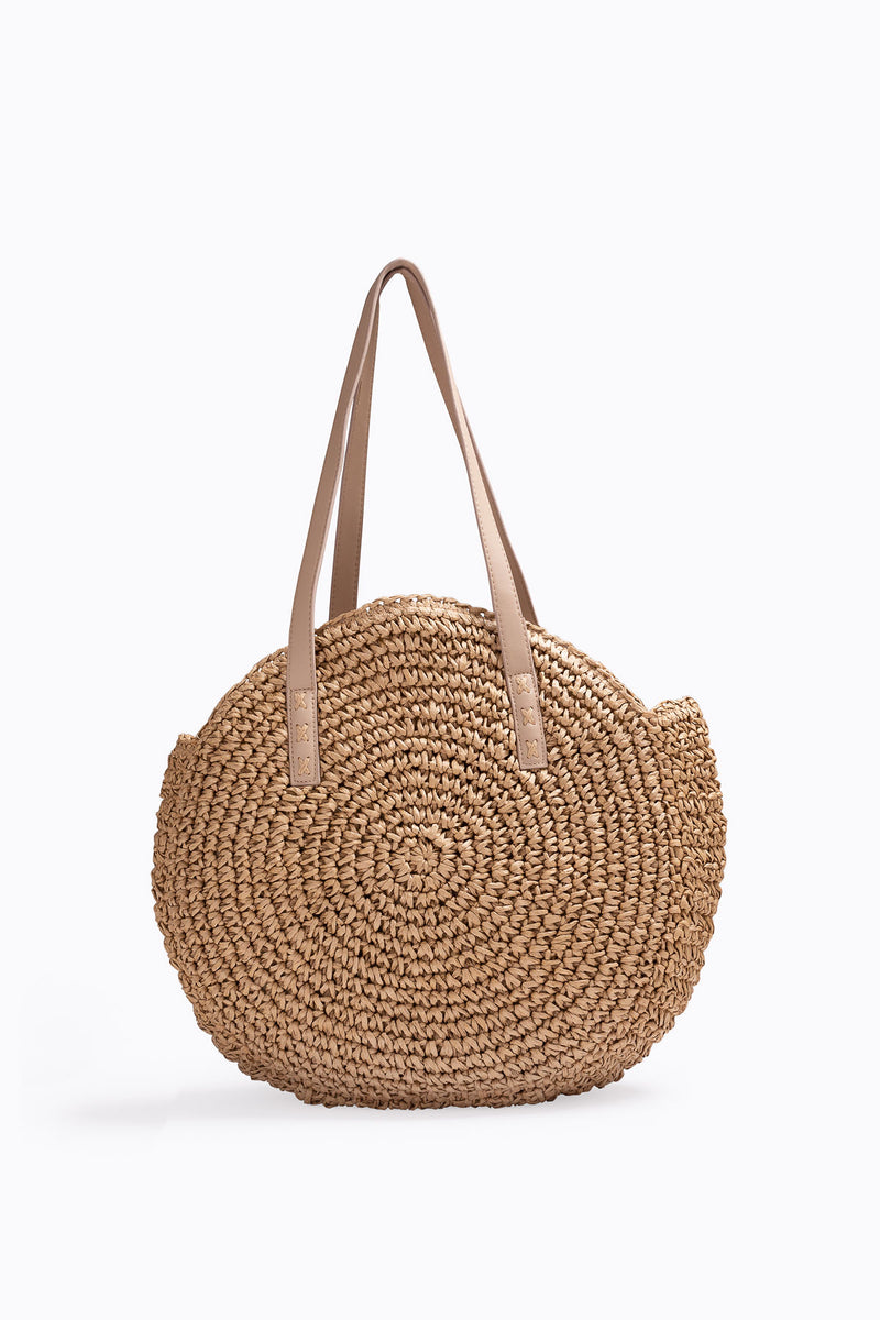 The Mirada Basket Tote in Tan
