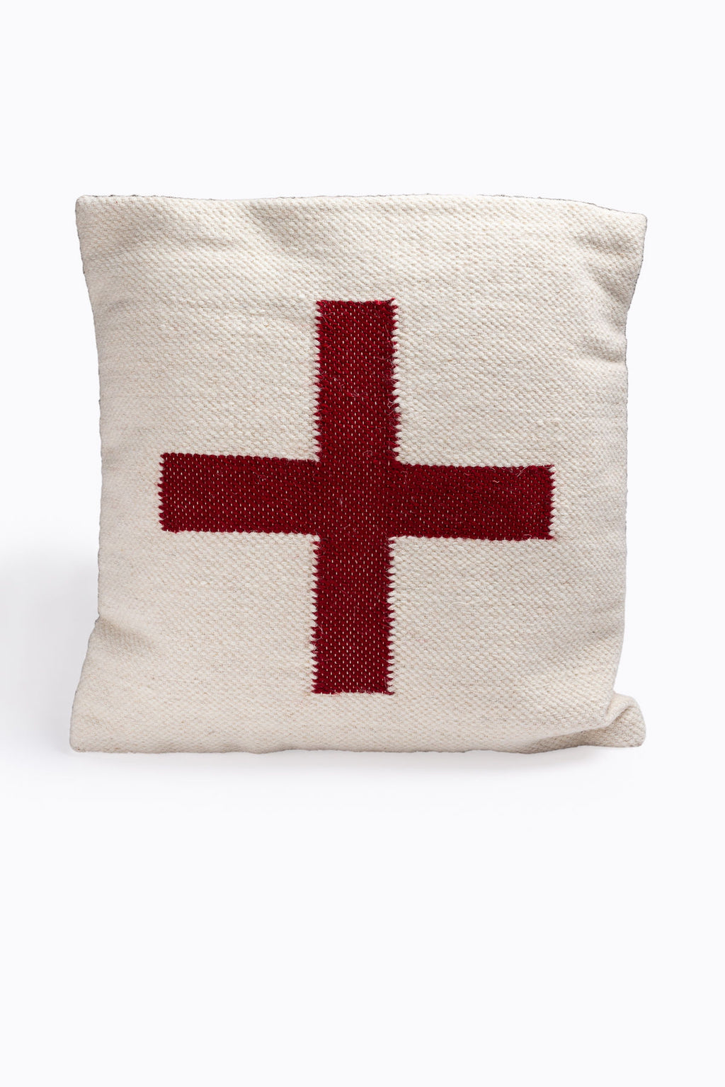 HOME: Square Wool Blend Pillow with Red Cross