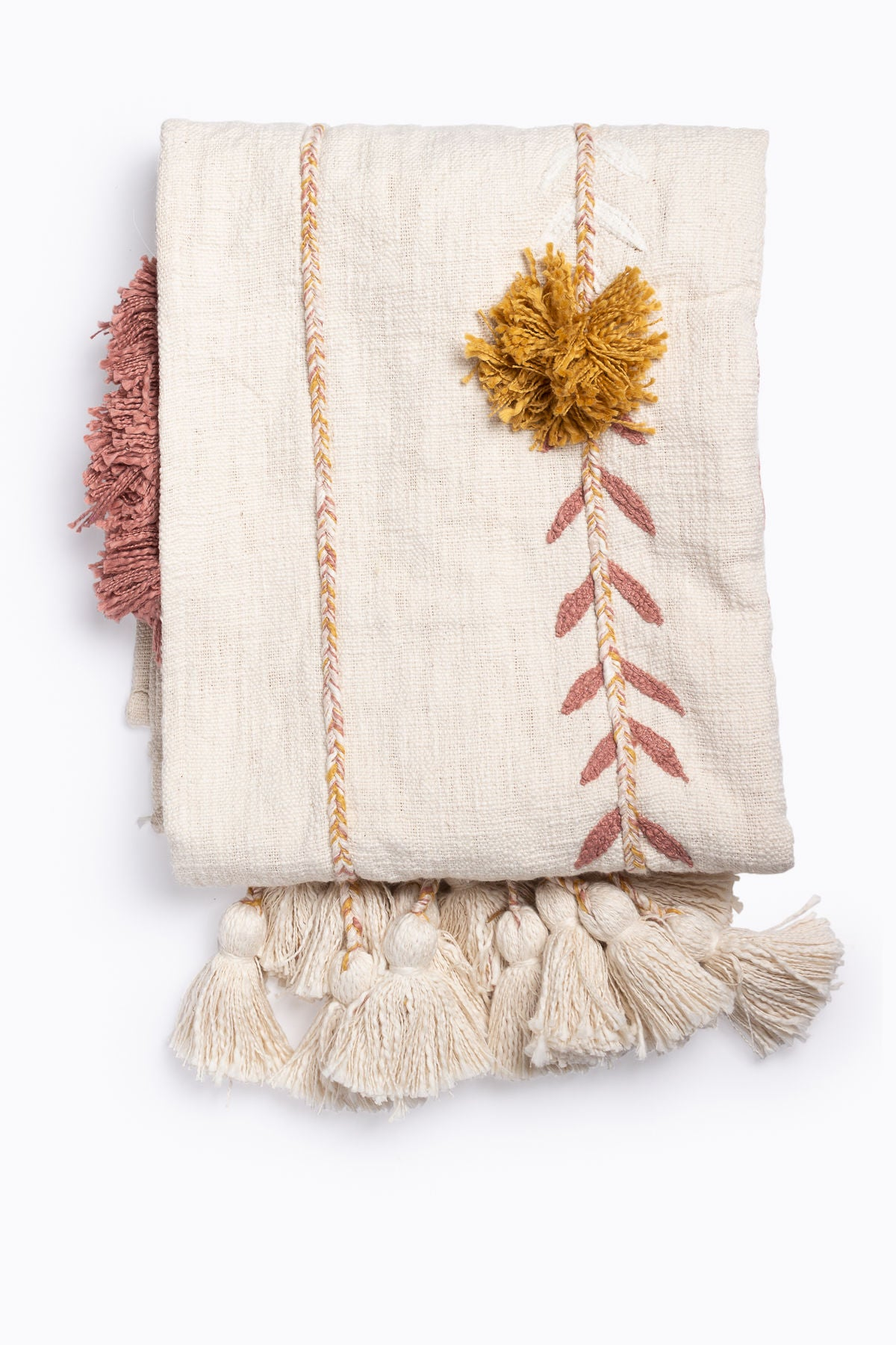HOME: Cotton Embroidered Throw with Tassels in Cream