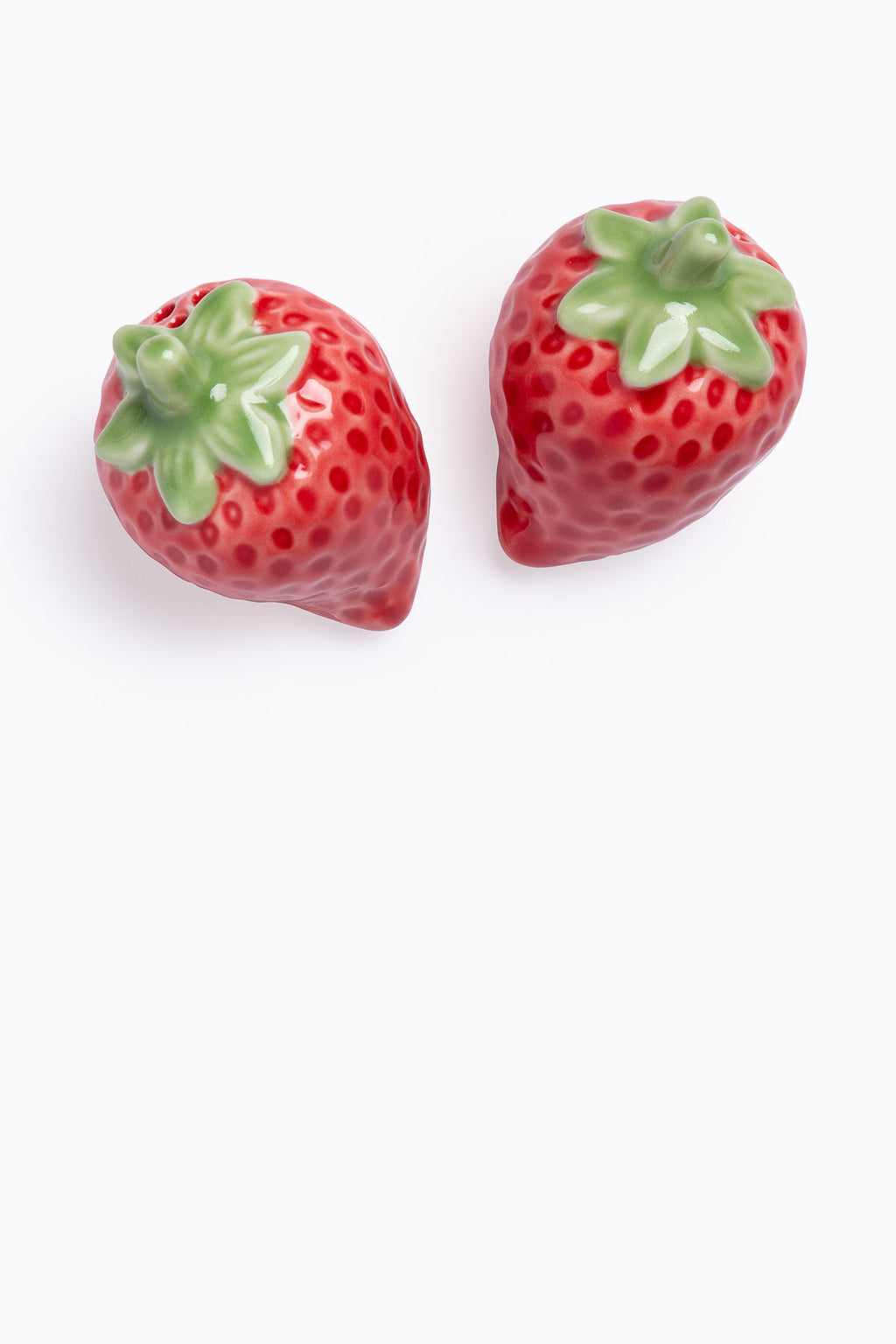 HOME: Stoneware Strawberry Salt + Pepper Shakers, Set of 2