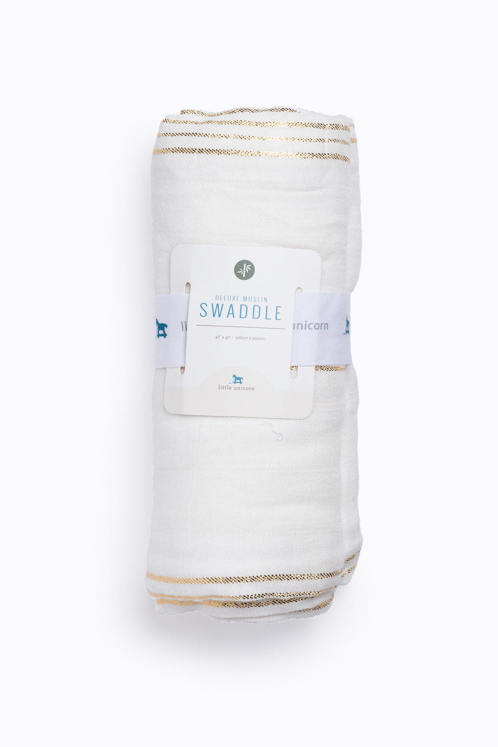 HOME: Little Unicorn Deluxe Muslin Swaddle Single in Gold Stripe