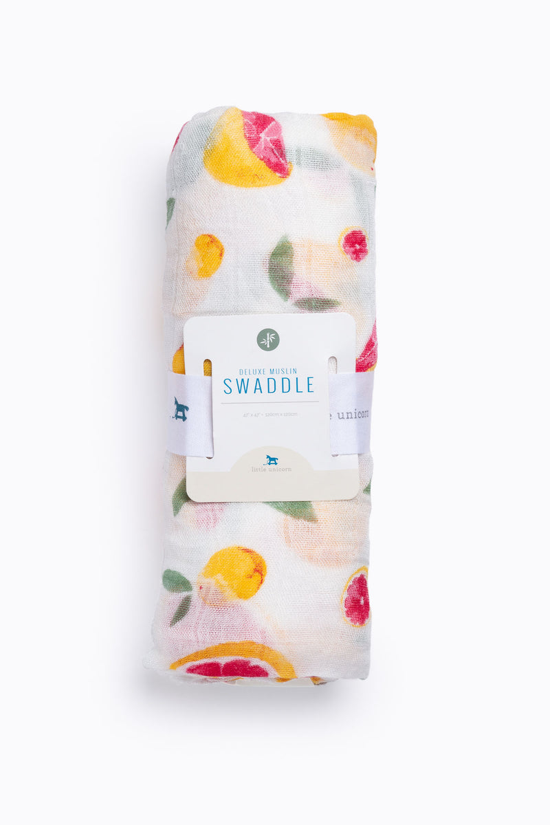 HOME: Little Unicorn Deluxe Muslin Swaddle Single in Grapefruit