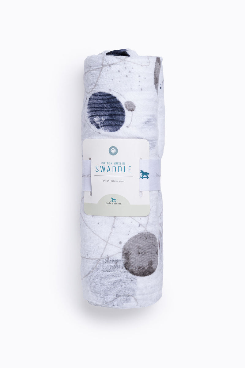 HOME: Little Unicorn Cotton Muslin Swaddle Single in Planetary