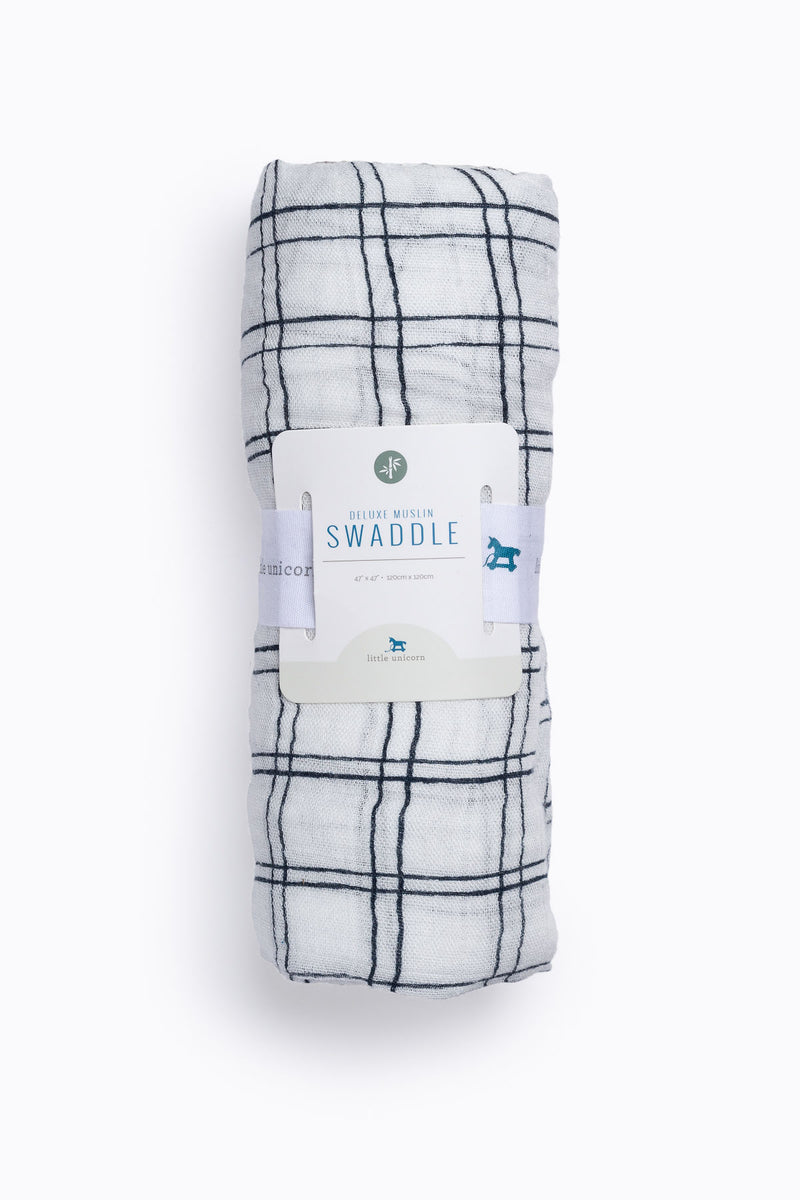 HOME: Little Unicorn Deluxe Muslin Swaddle Single in Navy Windowpane