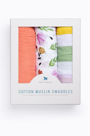 HOME: Little Unicorn Cotton Muslin Swaddle Set of 3 in Cabana Stripe