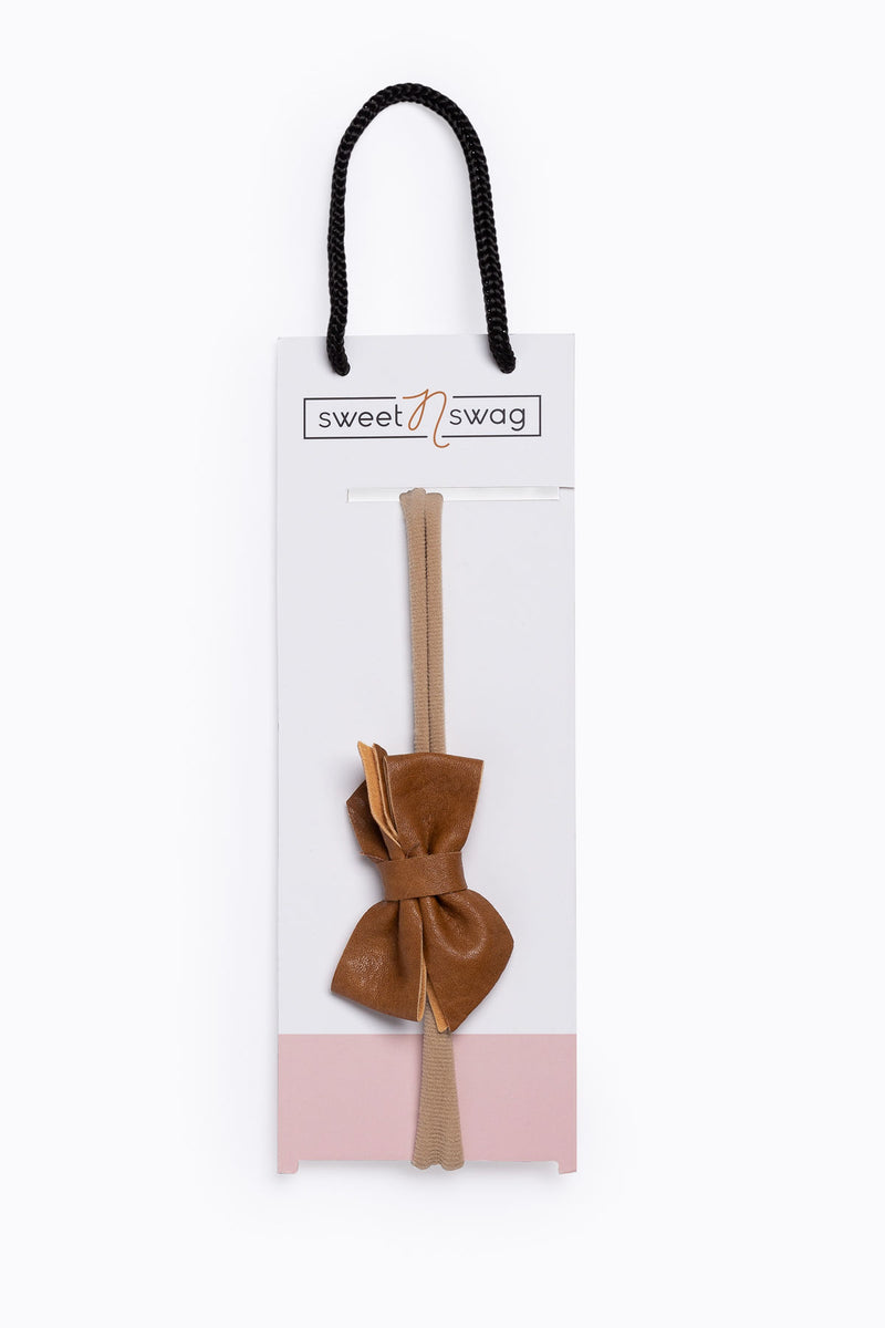 Perfect Match Hair Bow Headband in Meerkat