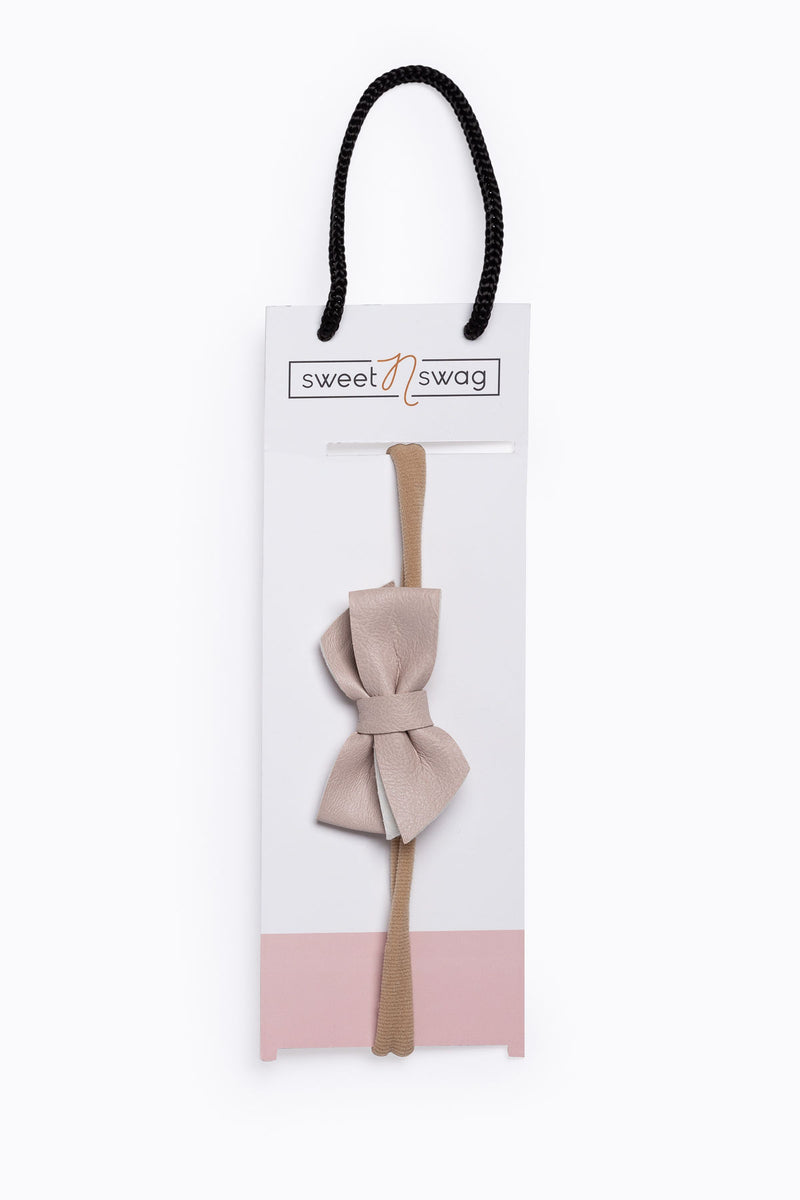 Perfect Match Hair Bow Headband in Blush