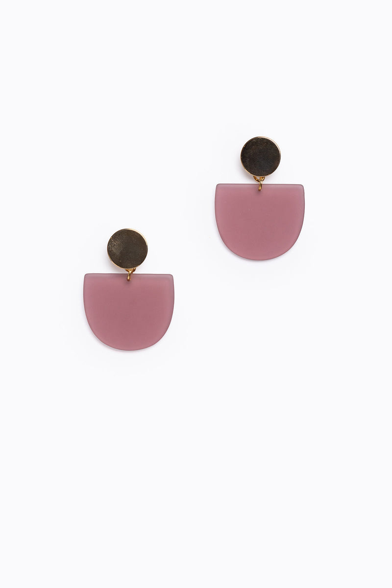 Matte Acrylic Plum Tab Earrings