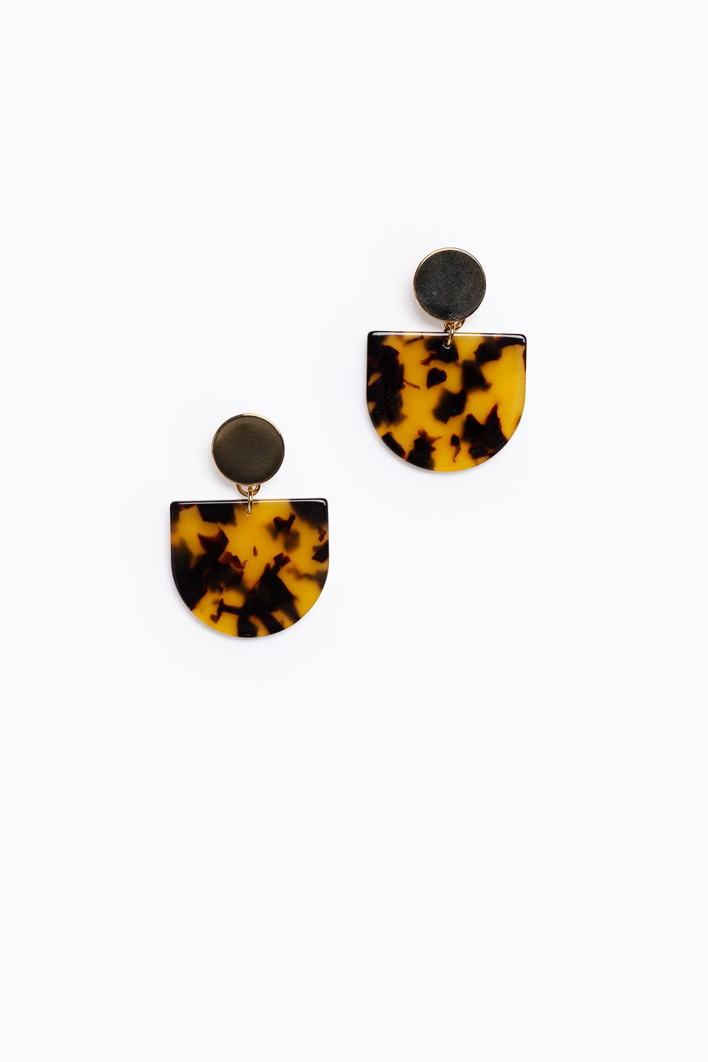 Amber Tortoise Acrylic Tab Earrings