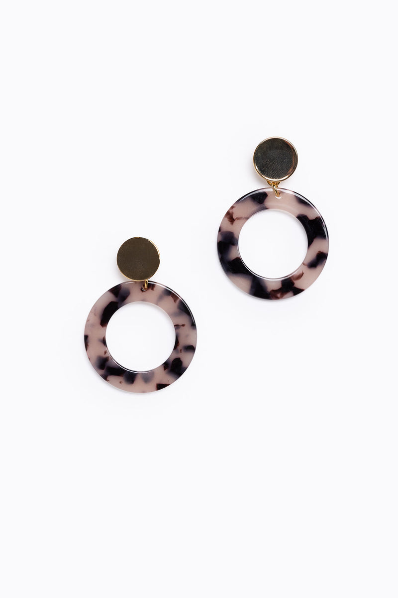Blonde Tortoise Acrylic Circle Earrings