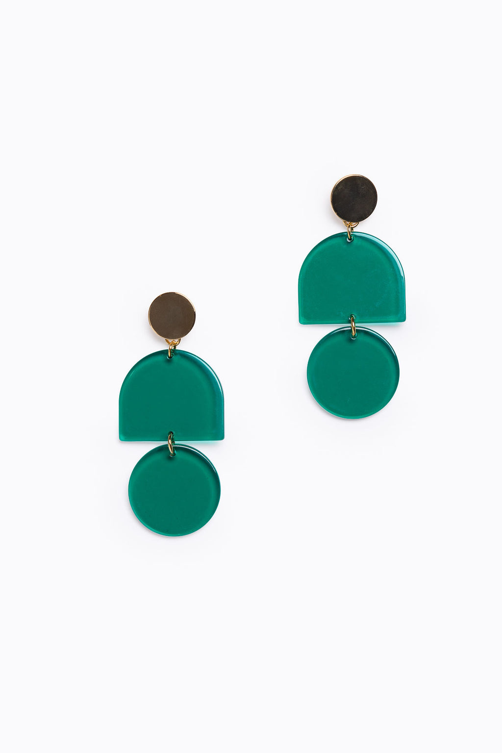 Green Transparent Acrylic Tab + Circle Earrings