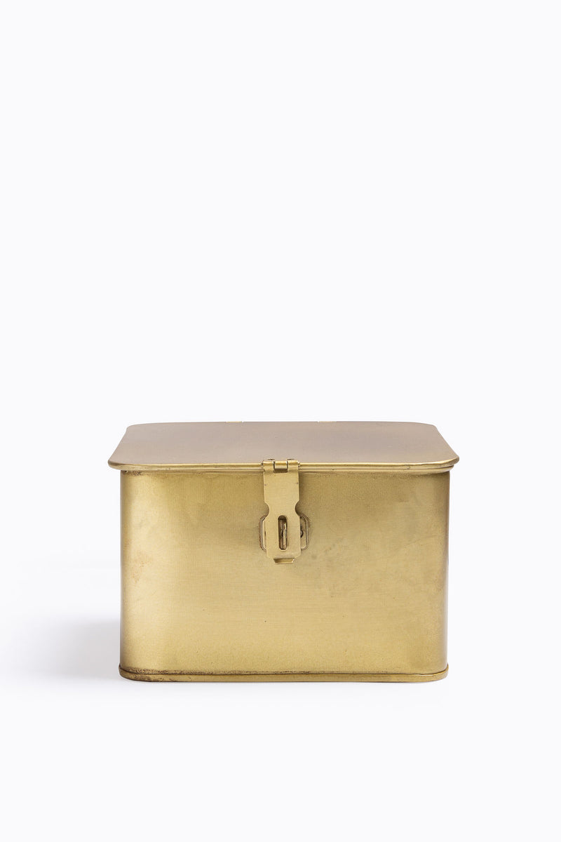 HOME: Square Decorative Metal Boxes in Brass Finish, 3 Sizes