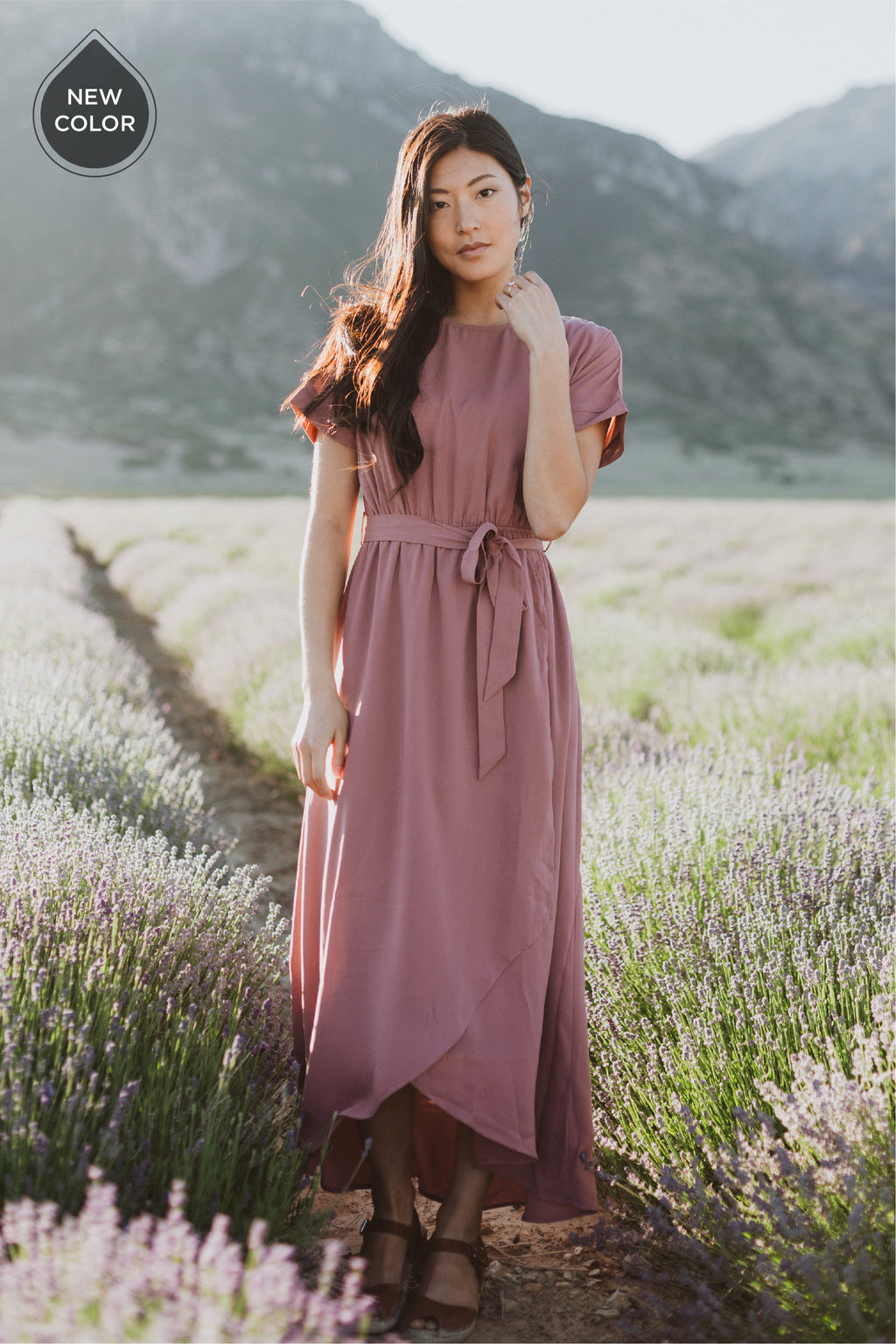 The Wakefield Wrap Dress in Mauve