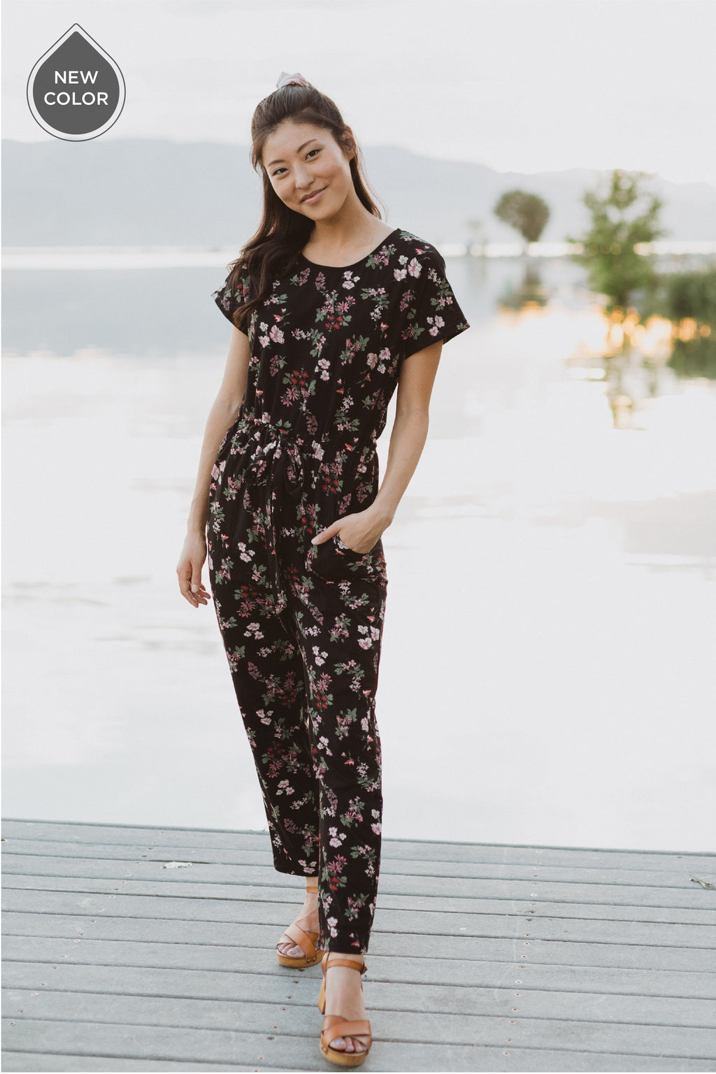 Piper & Scoot: The Bianca Cinch Jumpsuit in Black Floral - lifestyle shoot; front view