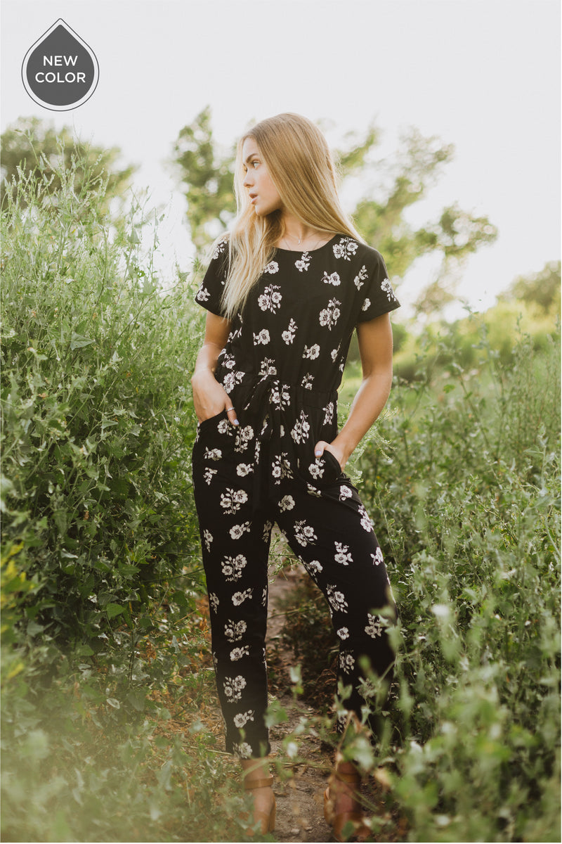 Piper & Scoot: The Bianca Cinch Jumpsuit in Cream Garden