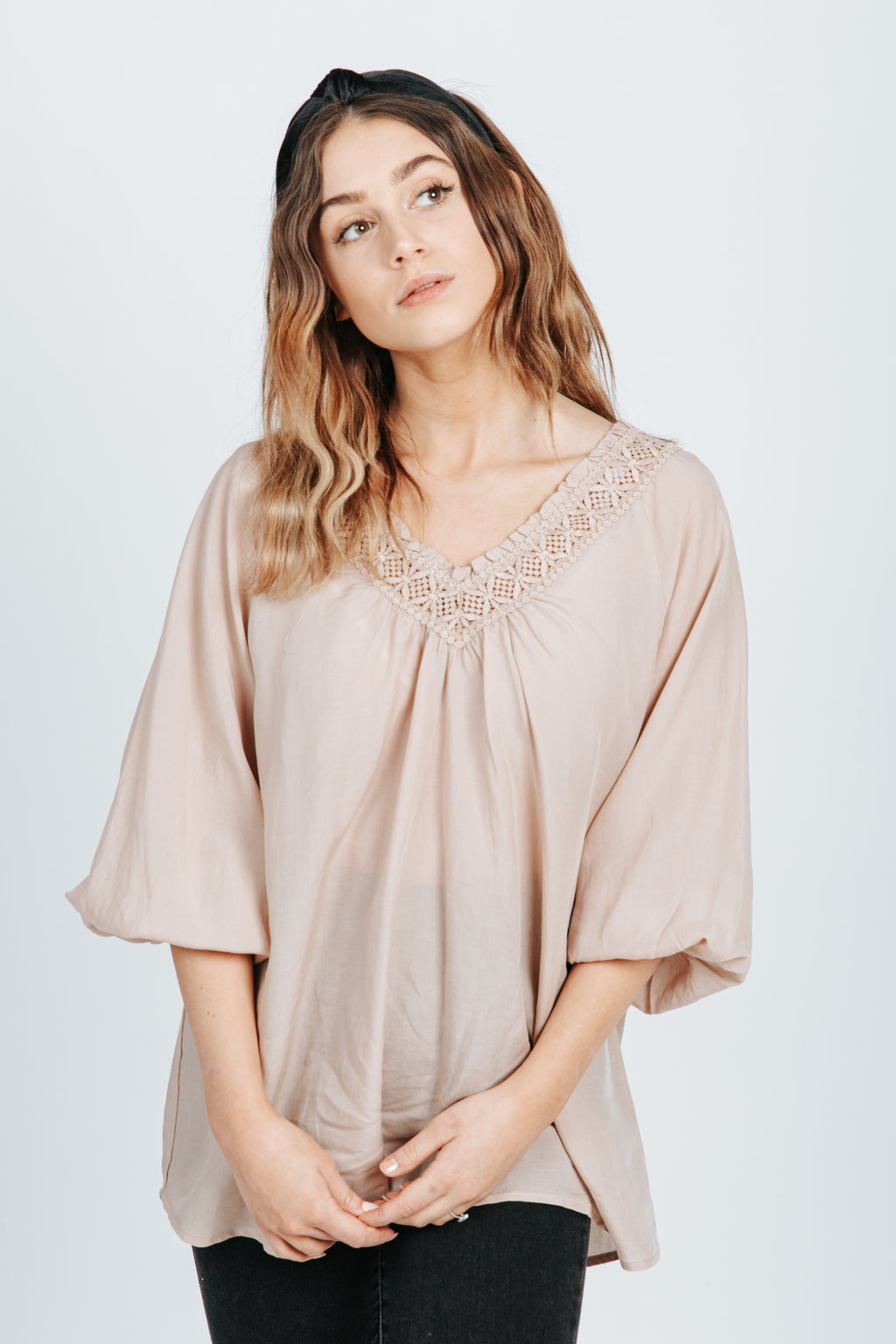 The Brody Lace Detail Blouse in Blush