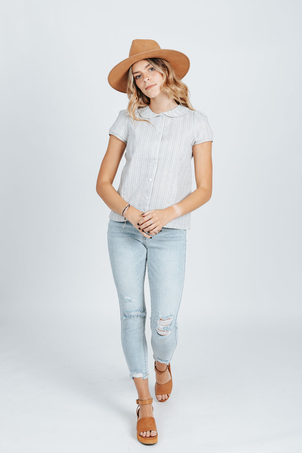 The Wendy Button Up Collar Blouse in Heather Grey