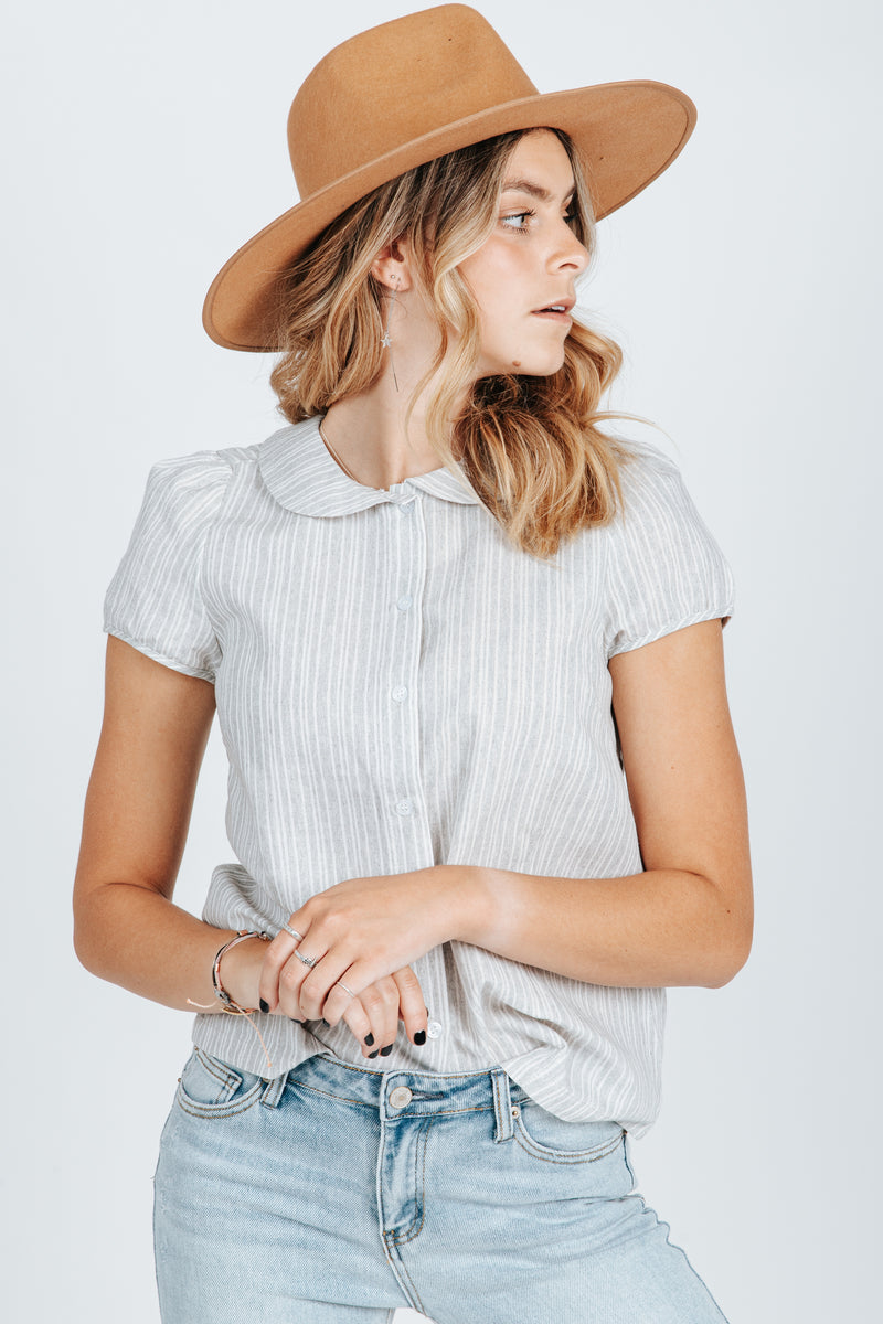 The Wendy Button Up Collar Blouse in Heather Grey, studio shoot; front view