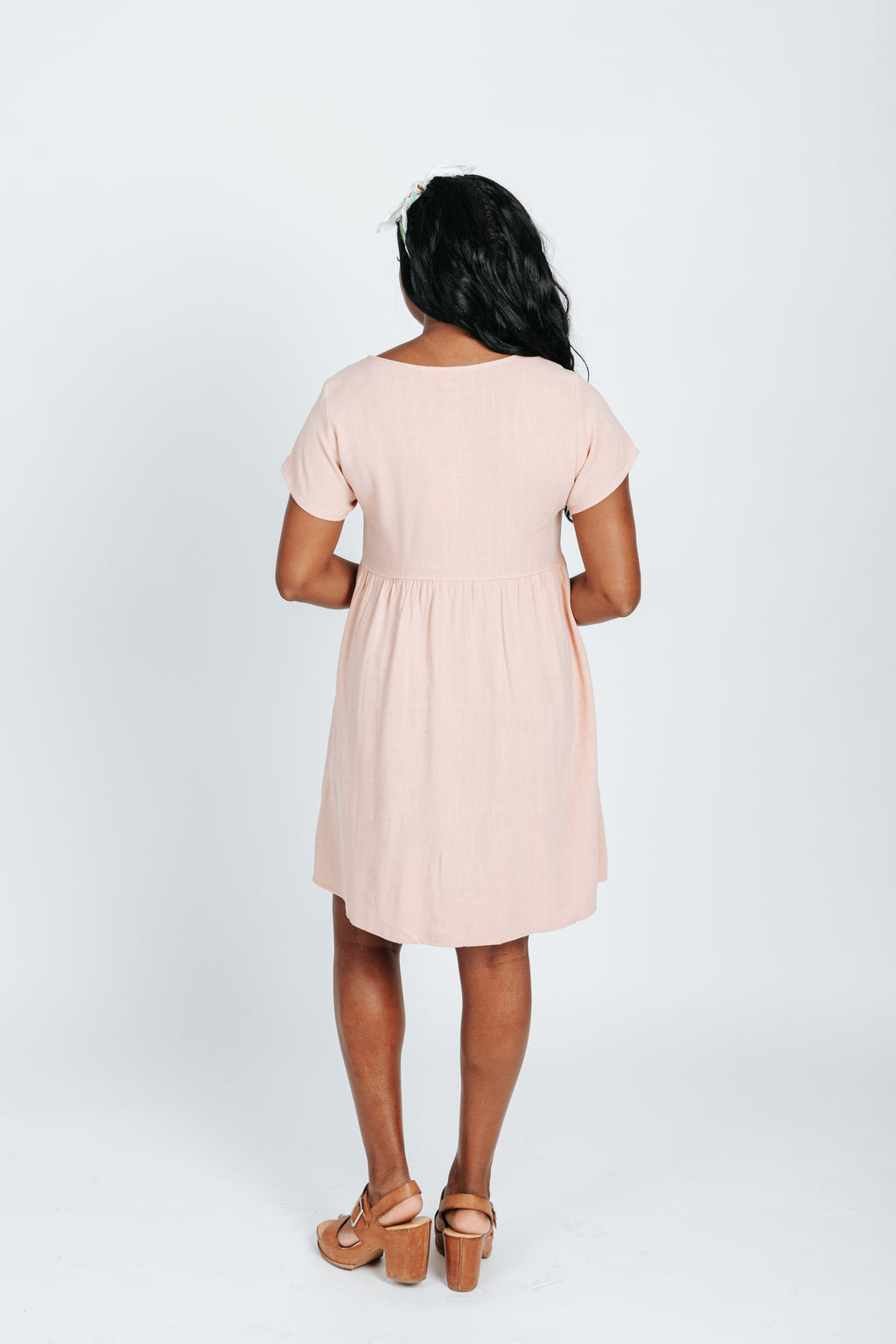 The Jenny Linen Button Front Dress in Blush