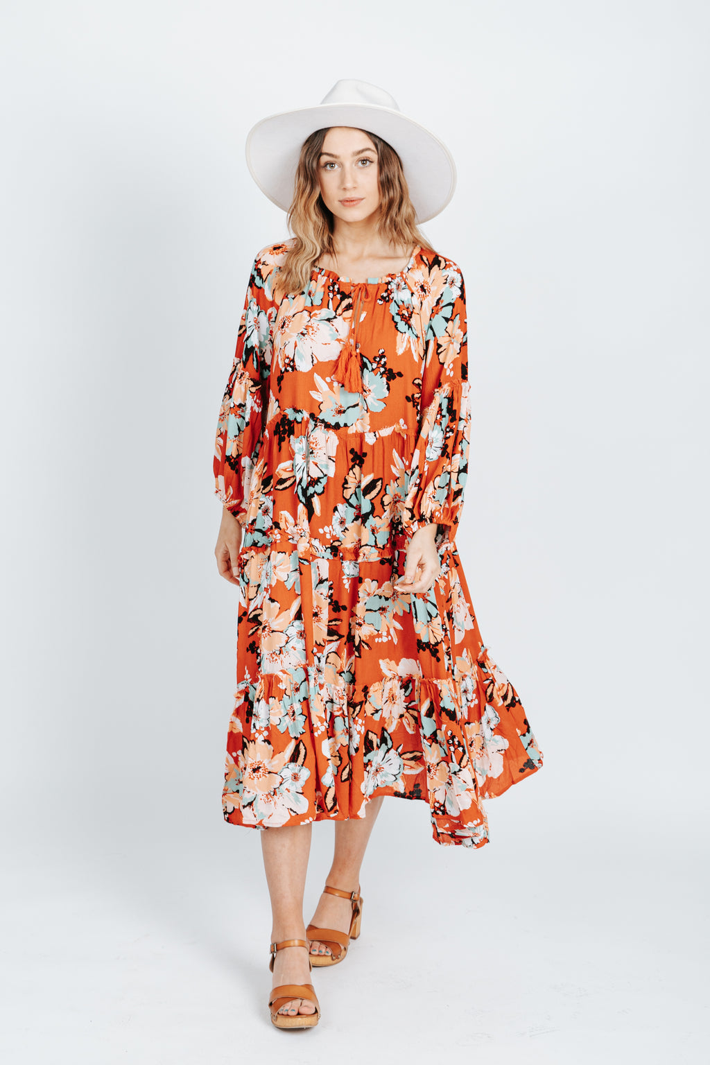 The Ralph Floral Tie Dress in Red