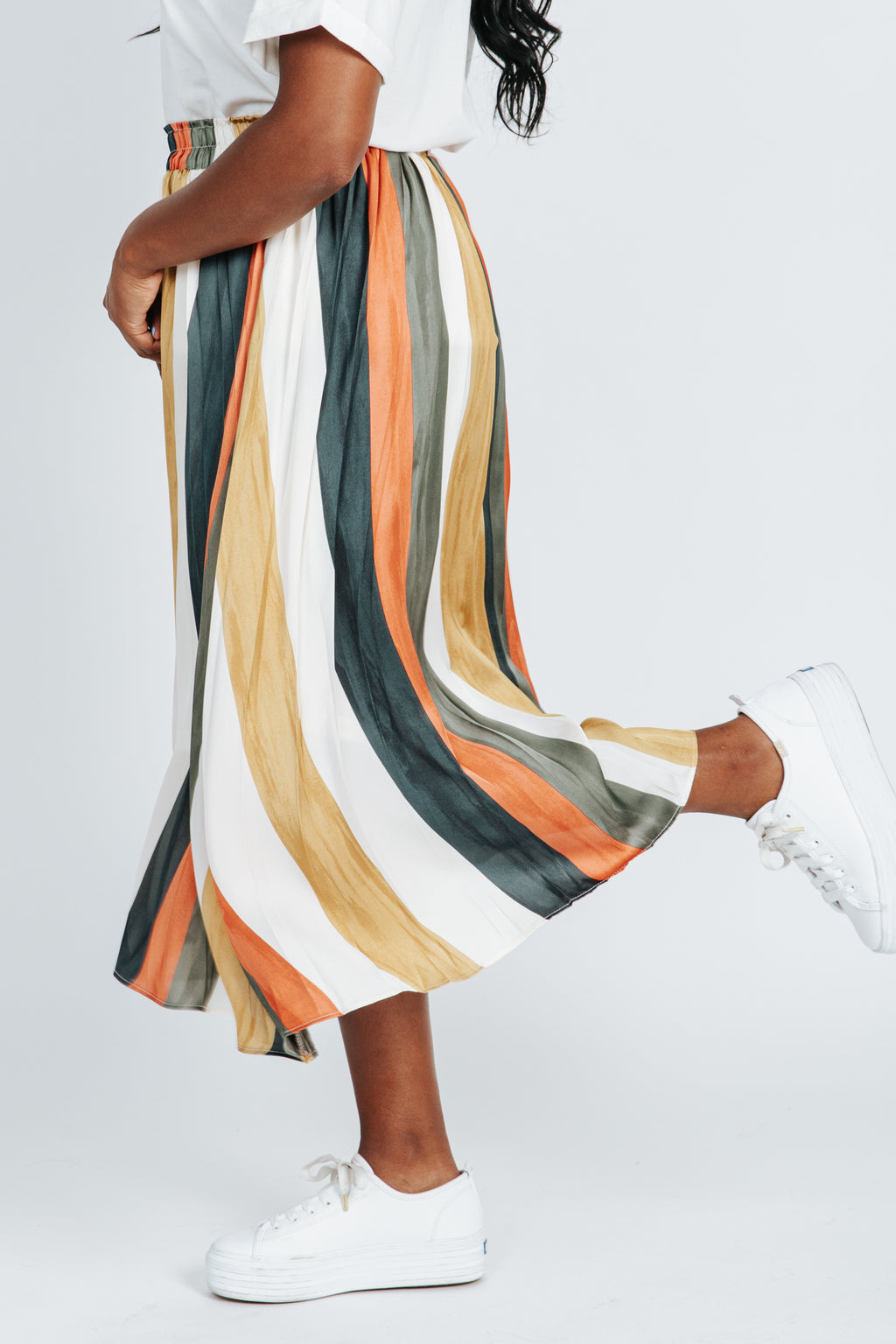 The Hans Striped Skirt in Multi
