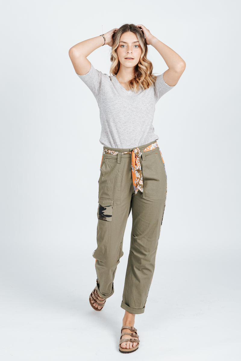 The Tori Utility Pant in Olive, studio shoot; front view
