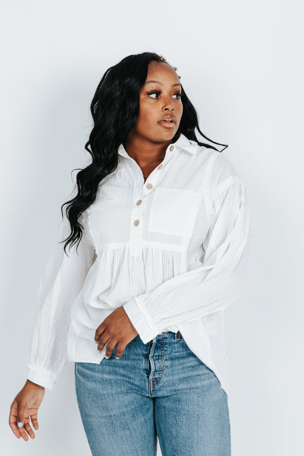 The Michael Textured Blouse in White