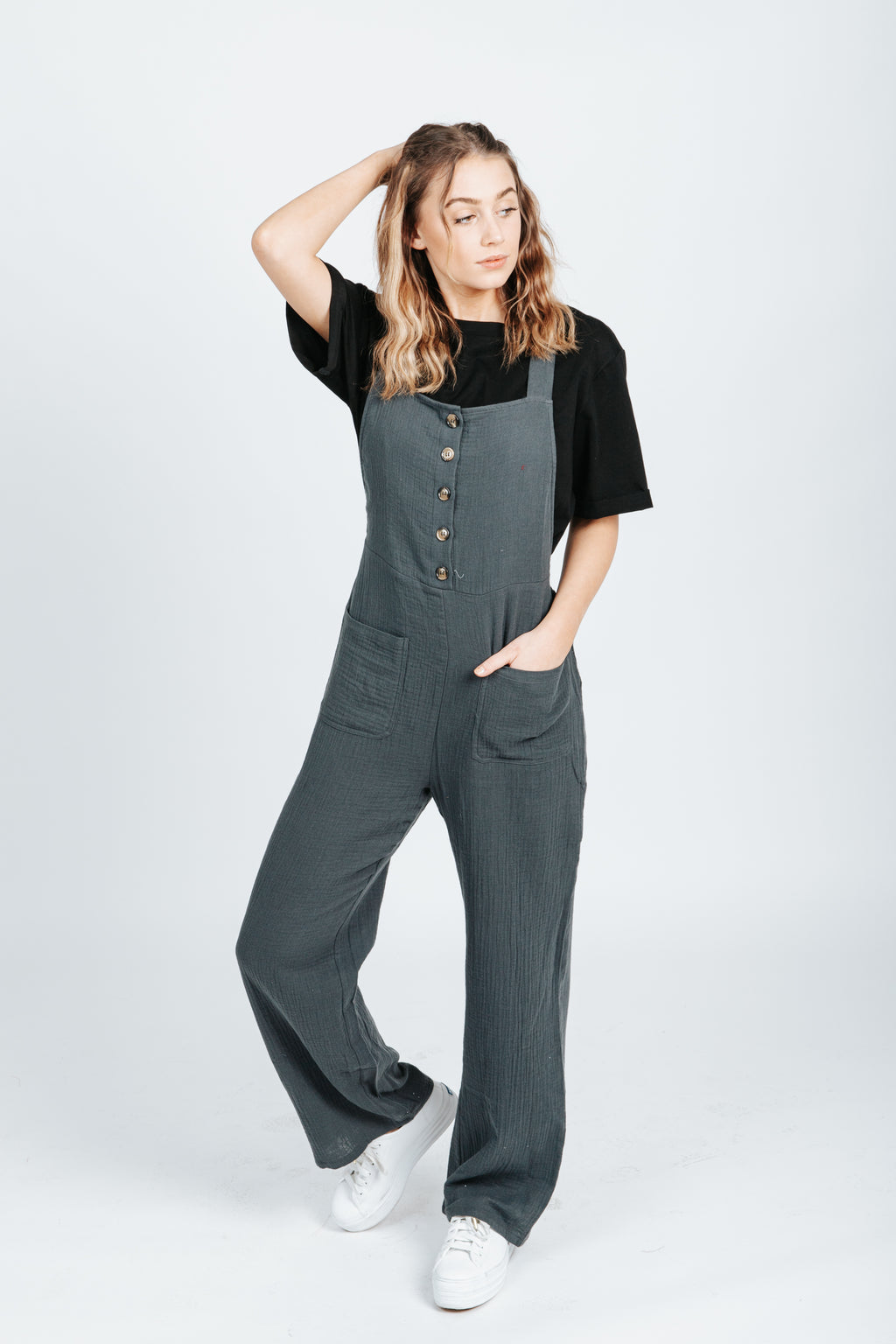 The Katey Tank Jumpsuit in Charcoal, studio shoot; front view
