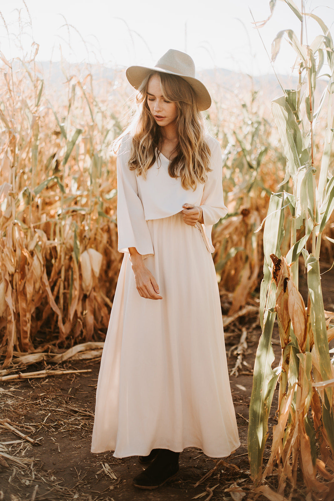 Piper & Scoot: The Bertram Bib Maxi Dress in Ivory