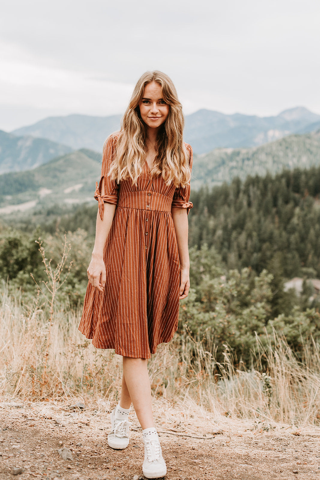 The Iowa Striped Midi Dress in Camel