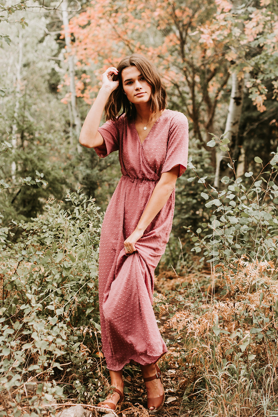 2313468946e8 The Brenley Swiss Wrap Dress in Dusty Mauve – Piper   Scoot
