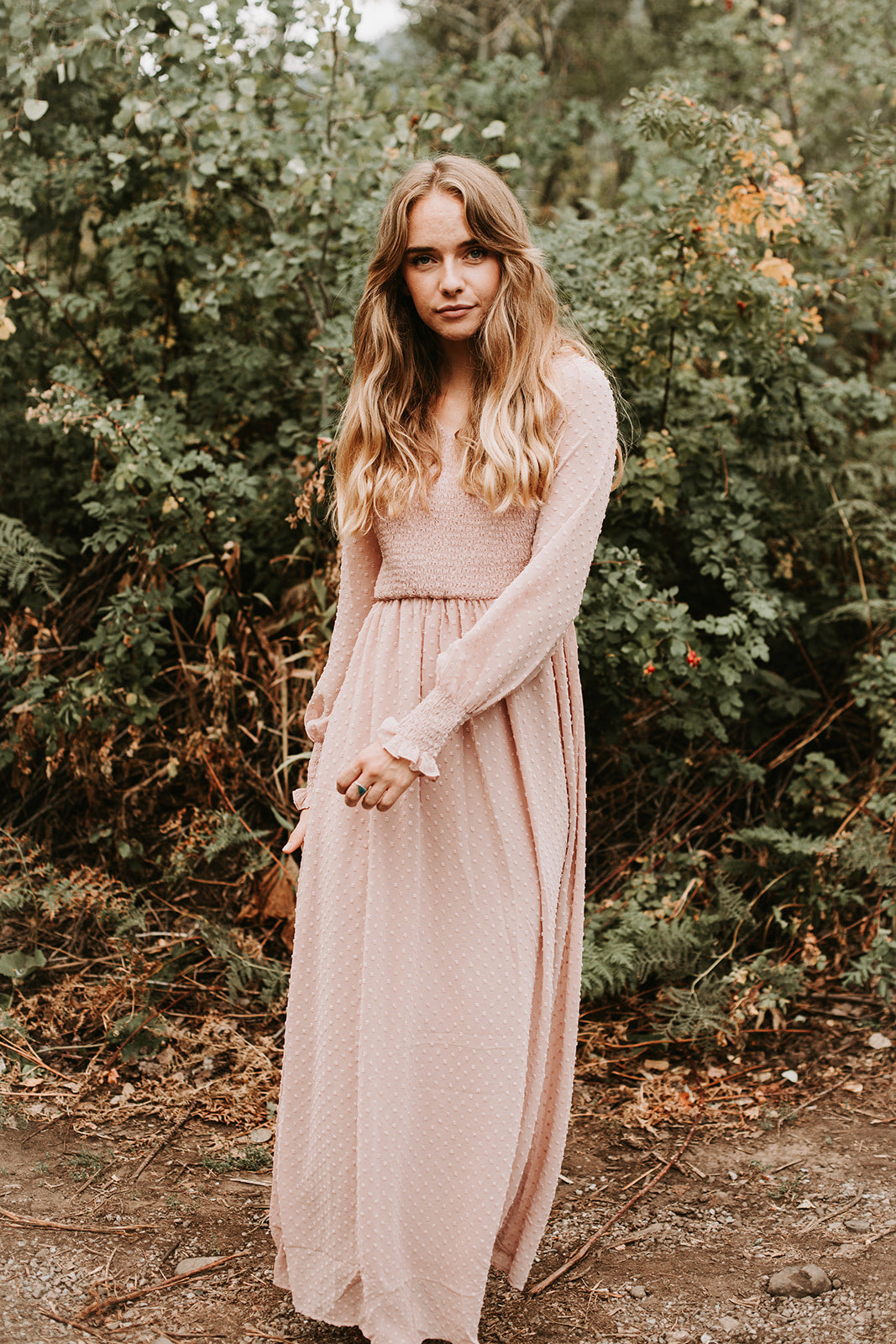 The Marion Smocked Swiss Maxi Dress in Blush