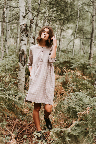 The Hazel Corduroy Button Dress in Hunter Green