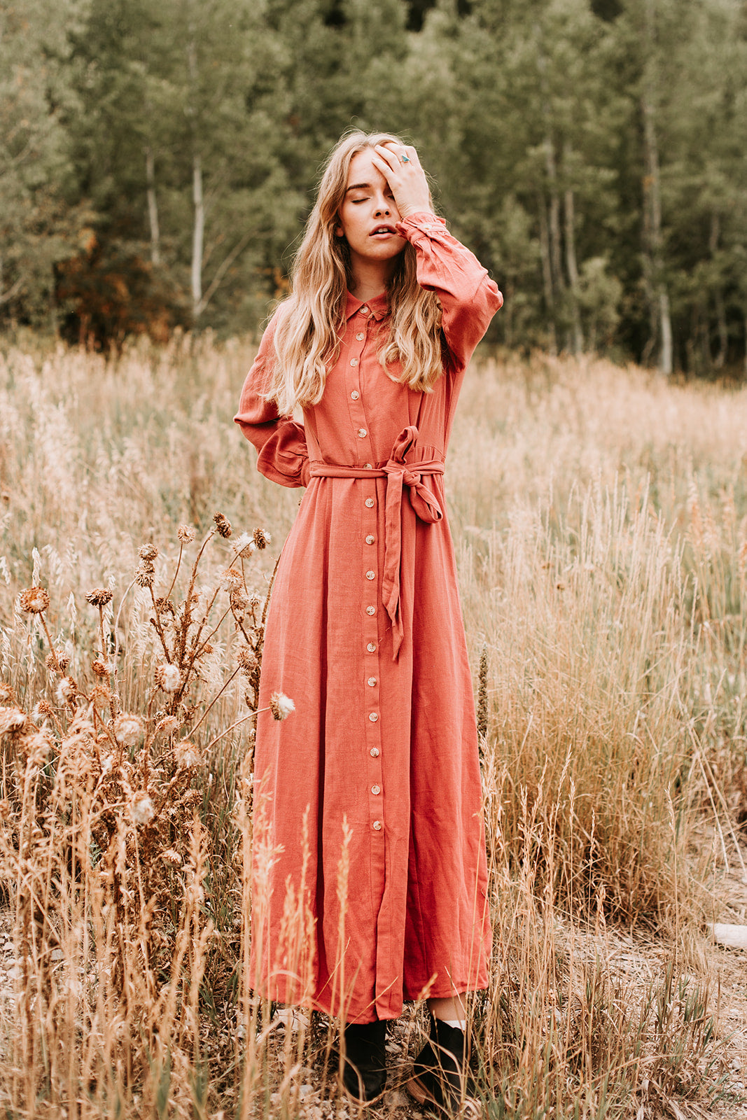 689a9c5220e2b4 The Rowley Button Maxi Dress in Light Rust – Piper   Scoot
