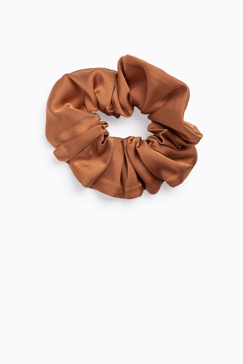 Floral Cotton and Tan Scrunchies in Tan Satin