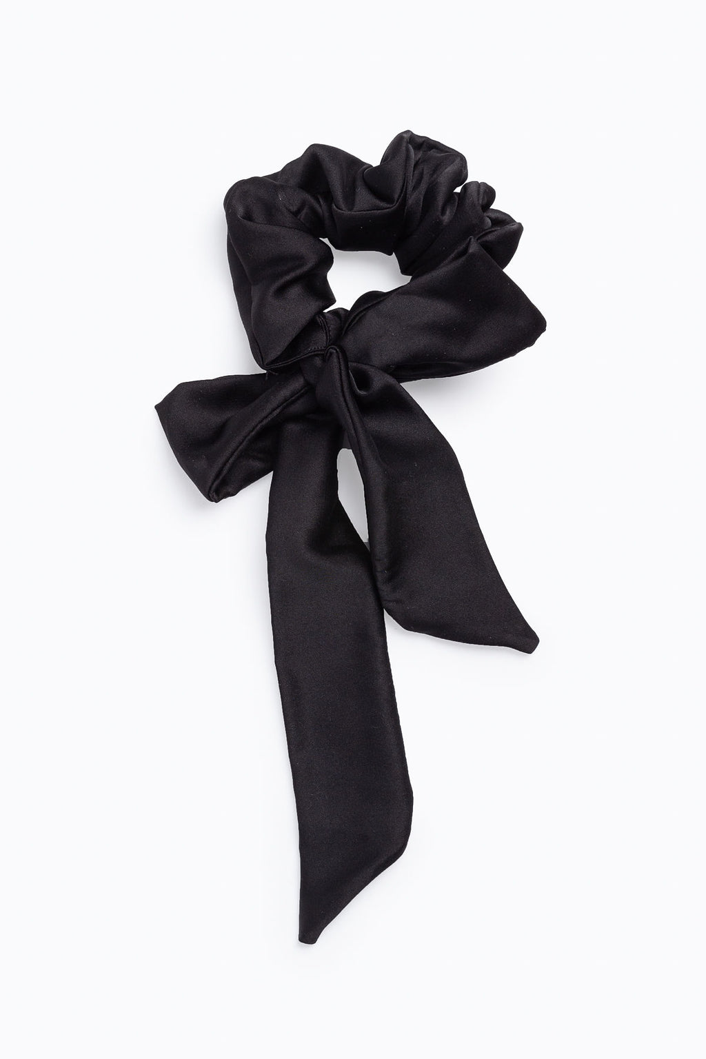 Black Satin Scrunchie with Bow