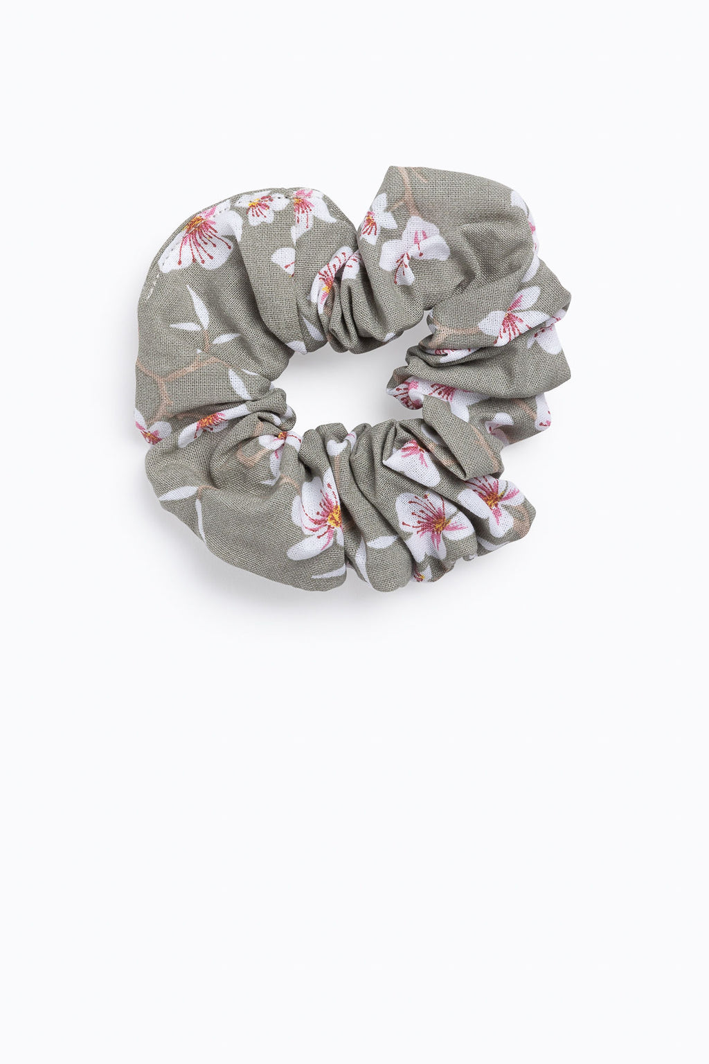 Floral Cotton Scrunchie in Olive