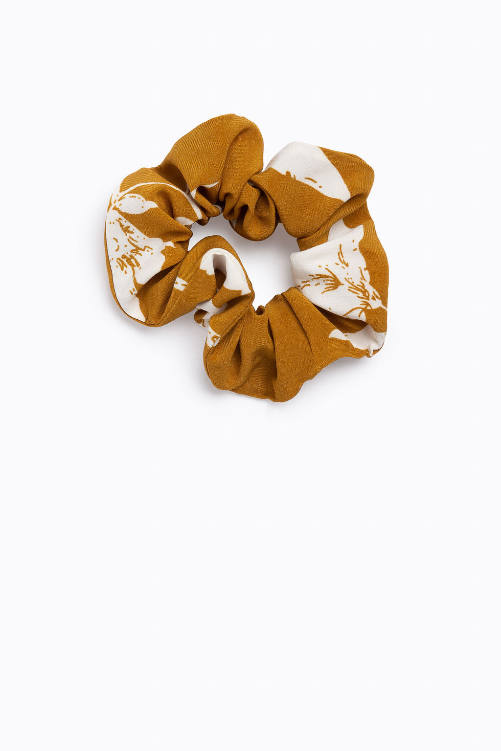 Floral Cotton and Tan Scrunchies in Floral Tan