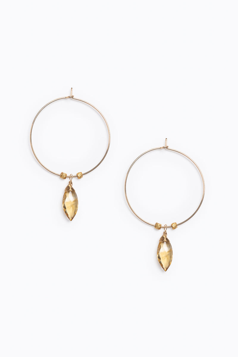 Nashelle: Spearhead Hoop Earring in Citrine